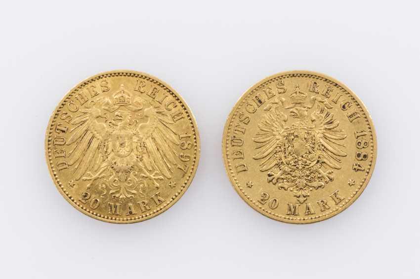 Kaiserreich / GOLD - 20 Mark 1884/A + 20 Mark 1897/A, - photo 2