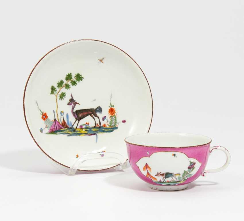 Cup and dish with mythical creature - photo 1
