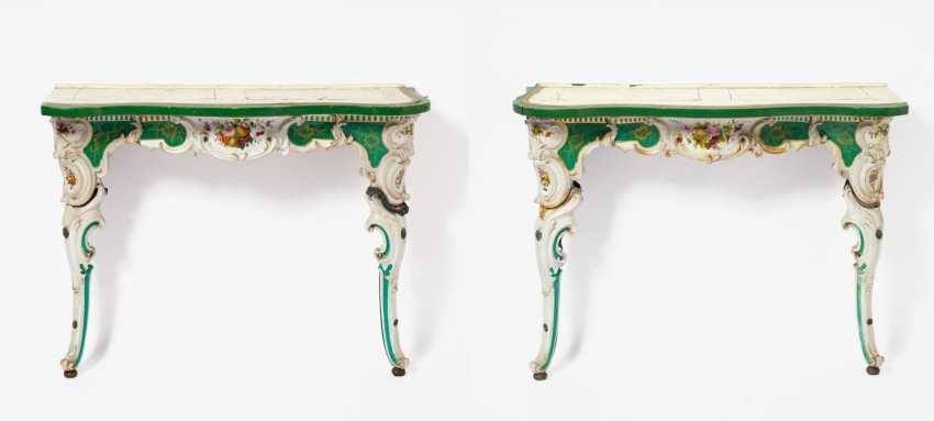 Pair Of Porcelain Consoles Style Rococo - photo 1