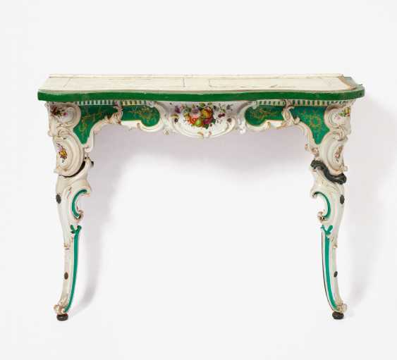 Pair Of Porcelain Consoles Style Rococo - photo 2