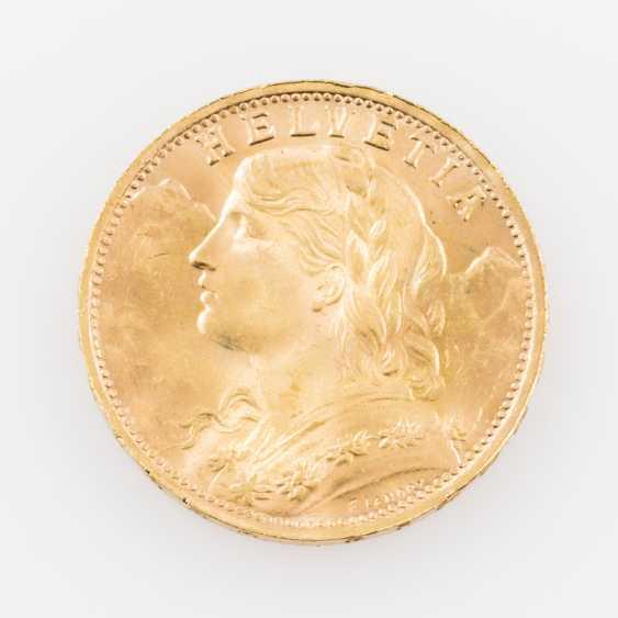 Switzerland GOLD 20 francs Vreneli, - photo 1