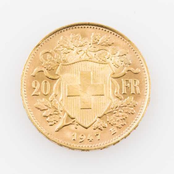 Switzerland GOLD 20 francs Vreneli, - photo 2