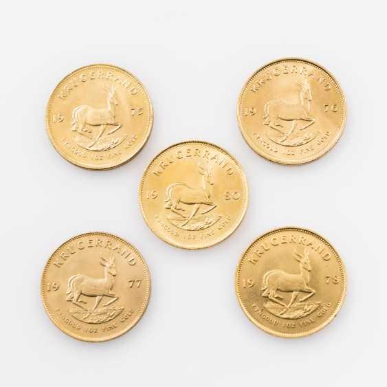 South Africa/GOLD - 5 x 1 oz Krugerrand, - photo 2