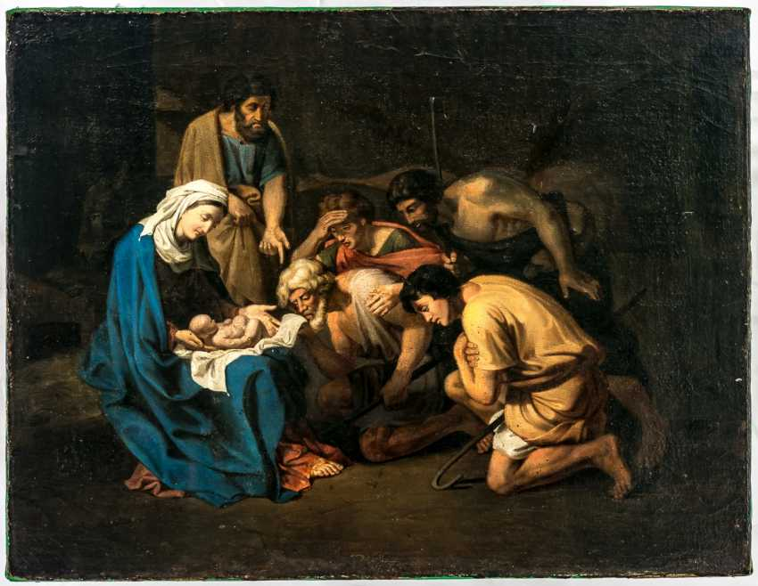 Impressive painting of the adoration of the shepherds in the succession of Nicolas Poussin (1594-1665) - photo 1