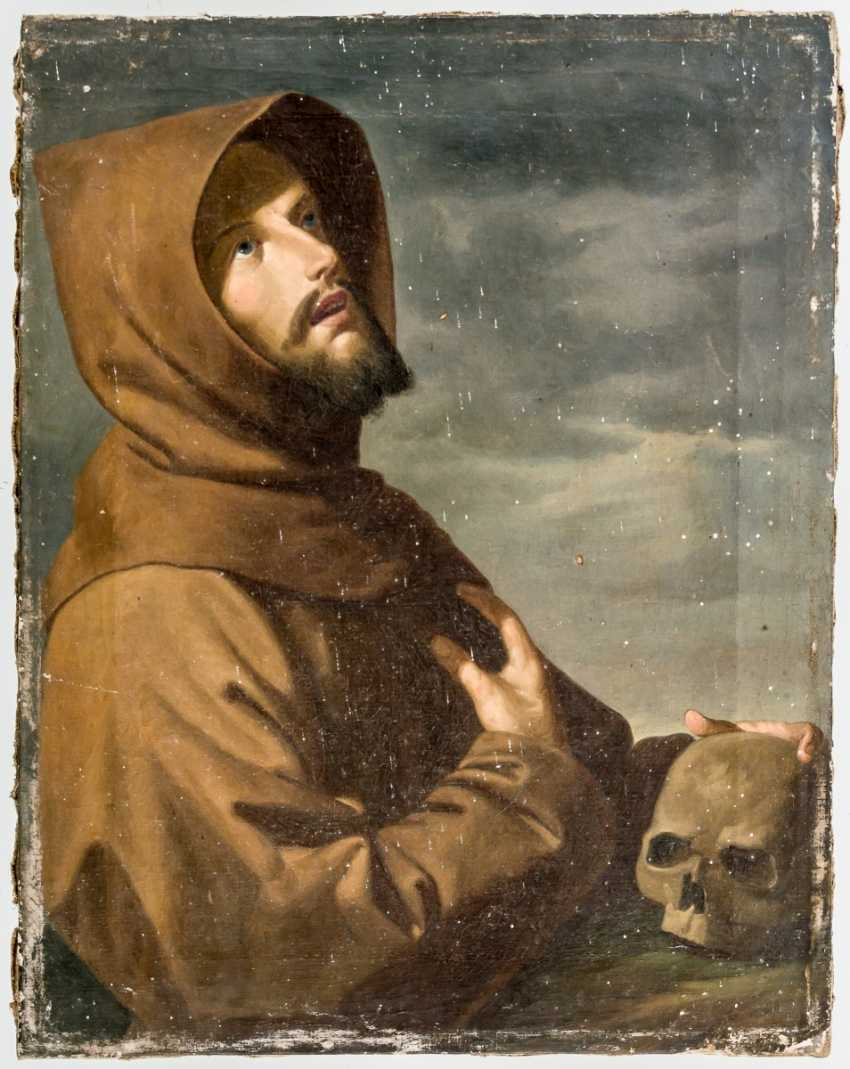 Hl. Franziskus v. Assisi (?) with a skull as a symbol of the transience of - photo 1