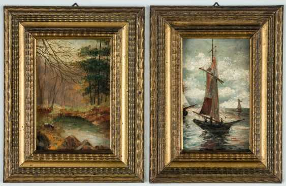 Two evocative images of a landscape and a sailing boat - photo 1