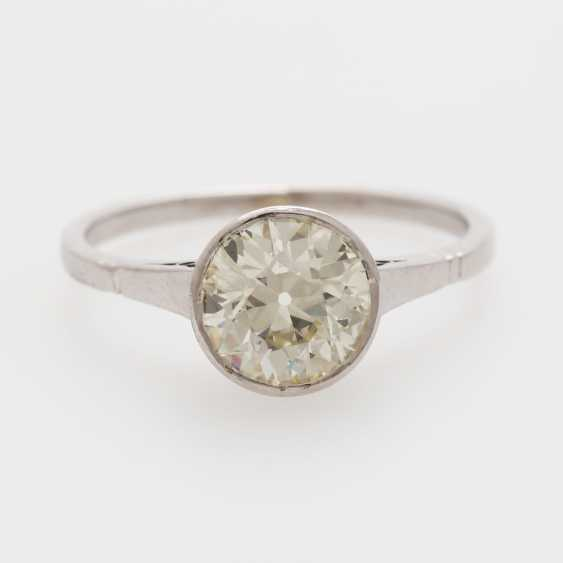 Solitaire ring with 1 old European cut diamond; - photo 1
