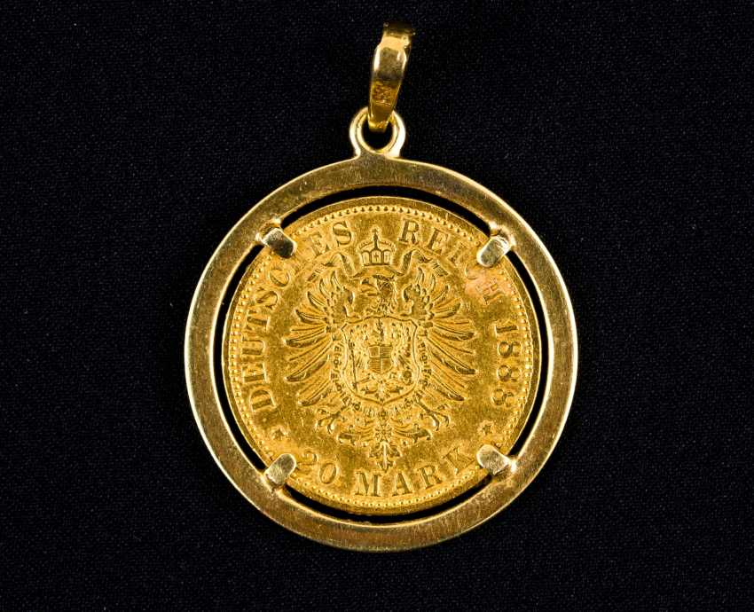20 Gold Mark, Friedrich Deutscher Kaiser, König v. Preussen, Deutsches Reich 1888 in Golden version - photo 2