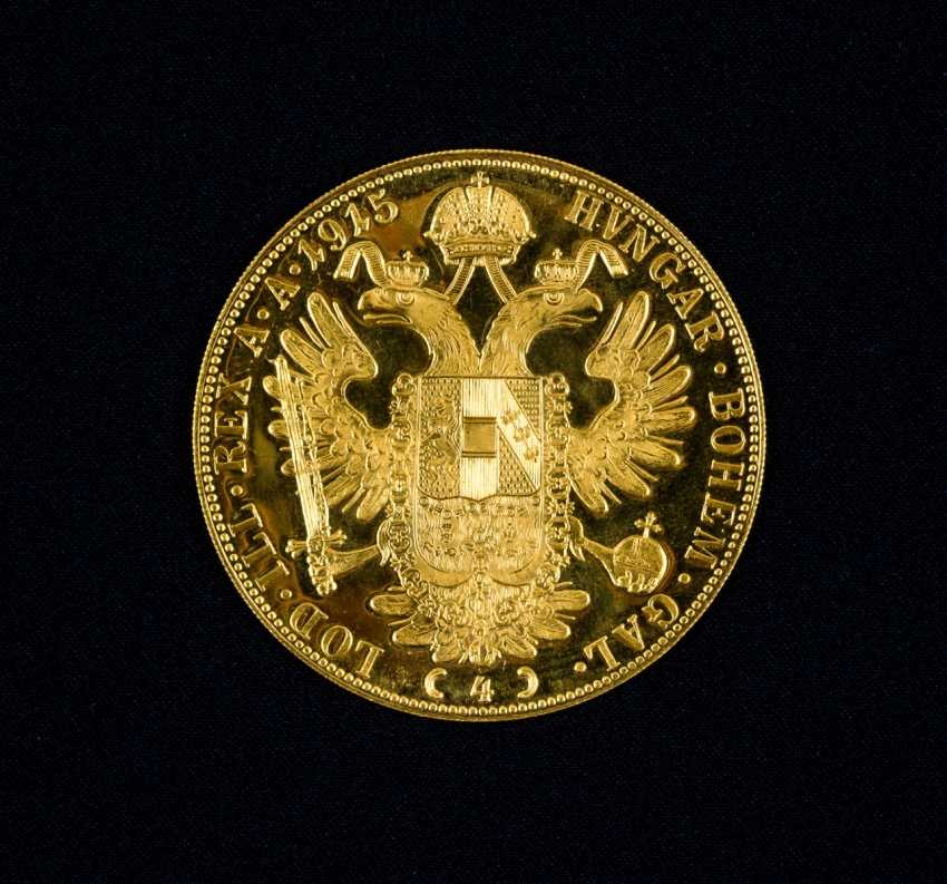 4 Austrian gold ducats, with Portrait of Emperor Franz Joseph I. of Austria, and the year 1915 - photo 2