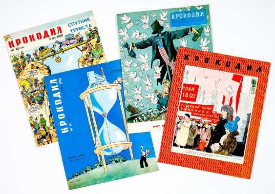 "4 issues of the Soviet Satire magazine ""crocodile"" from the years 1948, 1950, and twice in 1960 - photo 1"