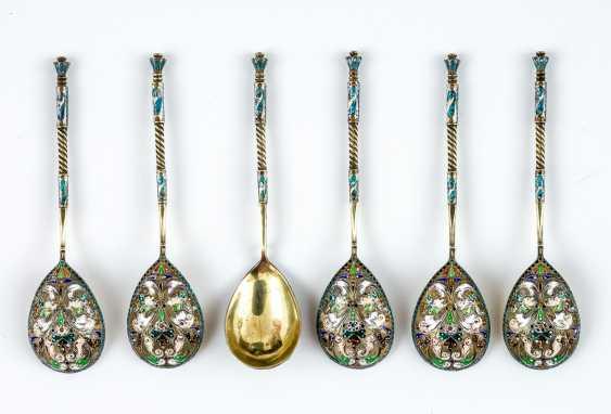 6 silver spoons with elaborate Cloisonné enamel - photo 1