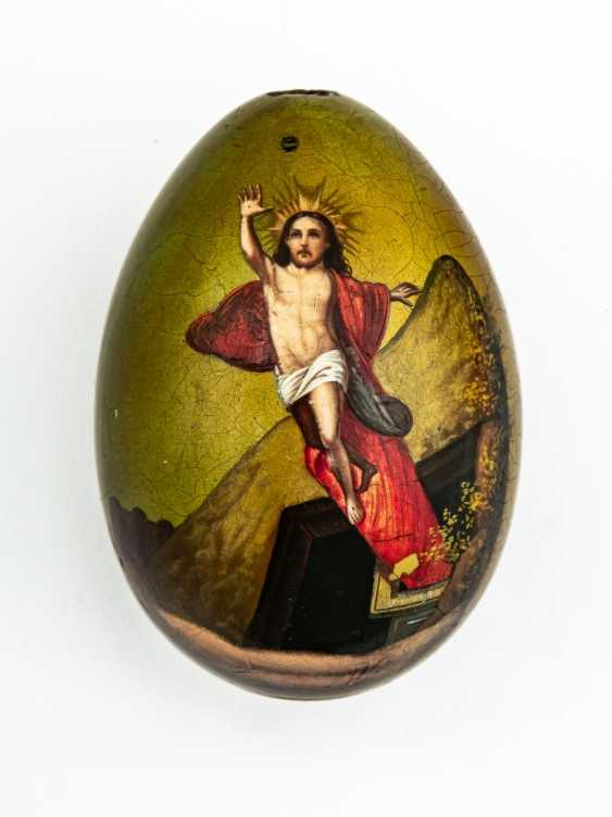 Paint Easter egg with the resurrection of Jesus and rear panel symbols - photo 1