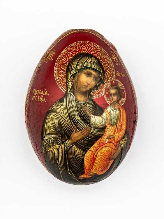"""Paint Easter egg with the mother of God Iverskaja and on the reverse side of the monogram for """"Christ is risen"""" - photo 1"""