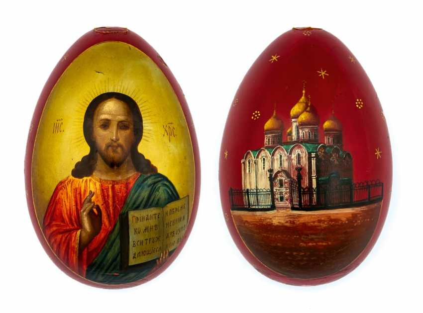Great paint Easter egg with Christ Pantokrator and the Church - photo 1