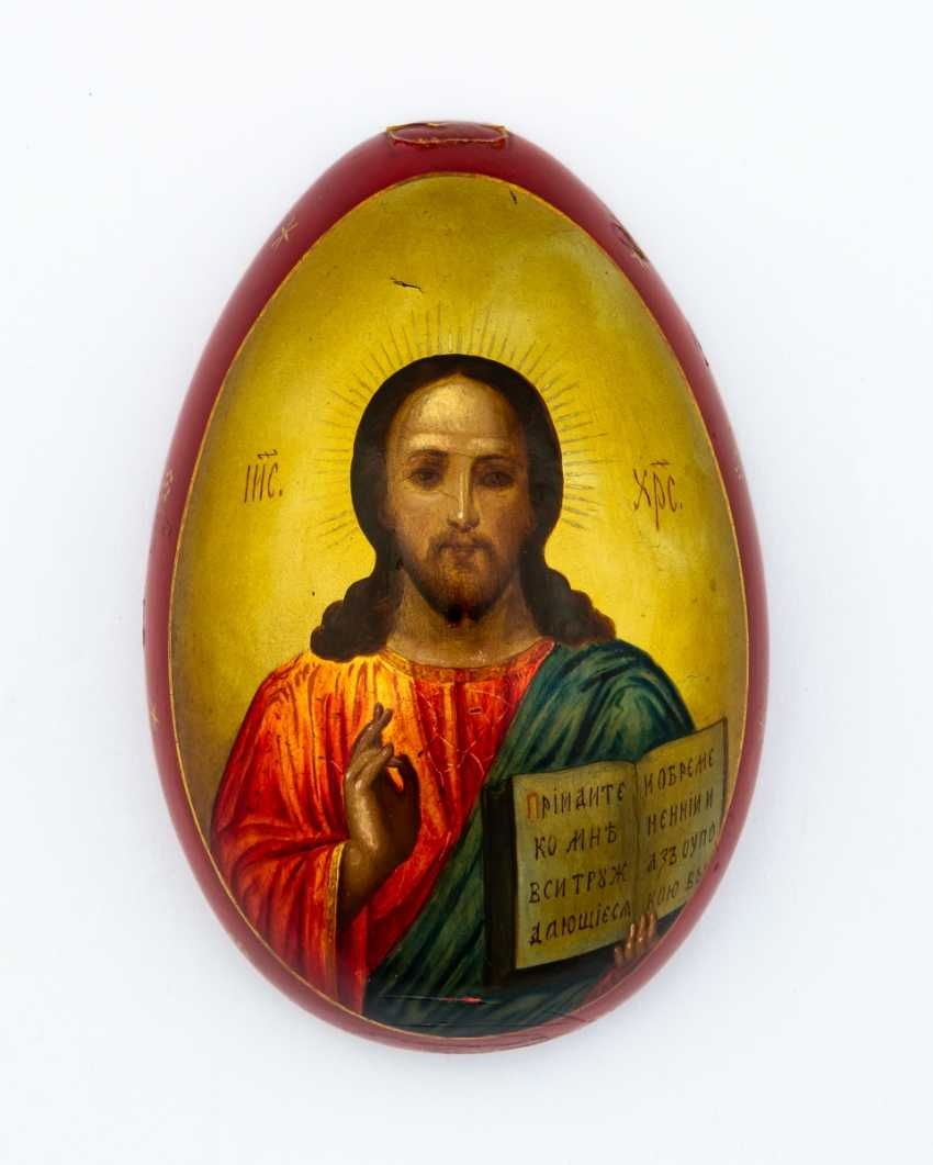 Great paint Easter egg with Christ Pantokrator and the Church - photo 2