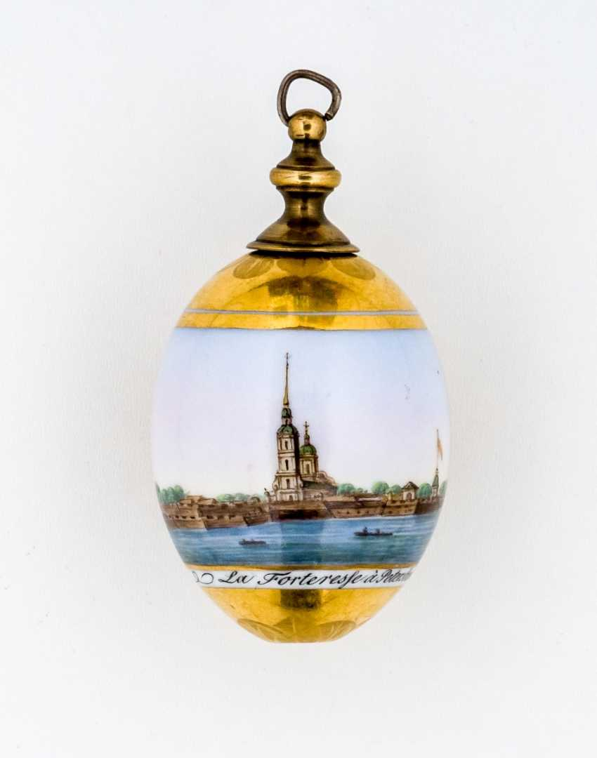 Rare porcelain egg with view of the Peter and Paul Cathedral as well as the eponymous fortress in St. Petersburg - photo 1