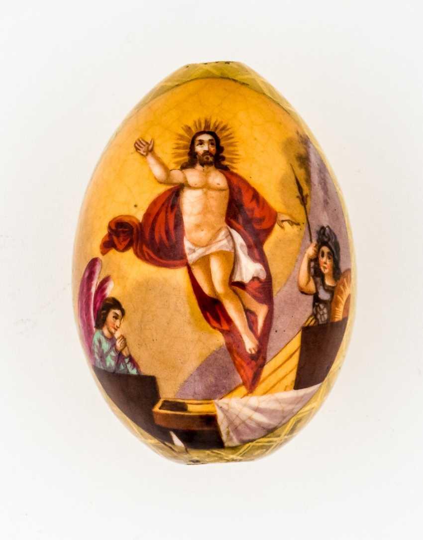 Porcelaine Oeuf de pâques avec la Résurrection du Christ et doré à l'Arrière - photo 1