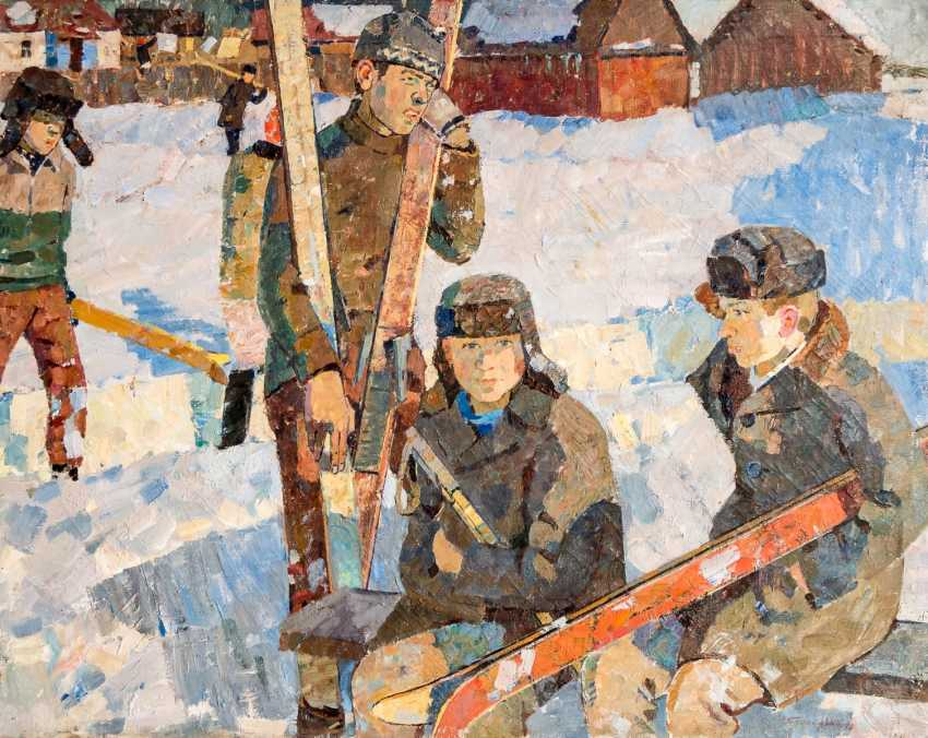Monumental paintings with skiers - photo 1