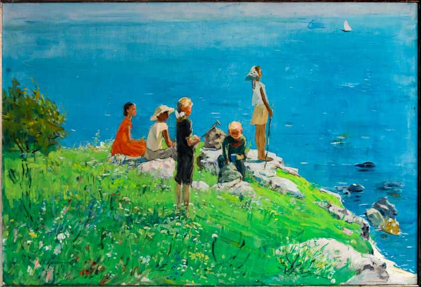 Monumental and atmospheric paintings with children by the water - photo 2