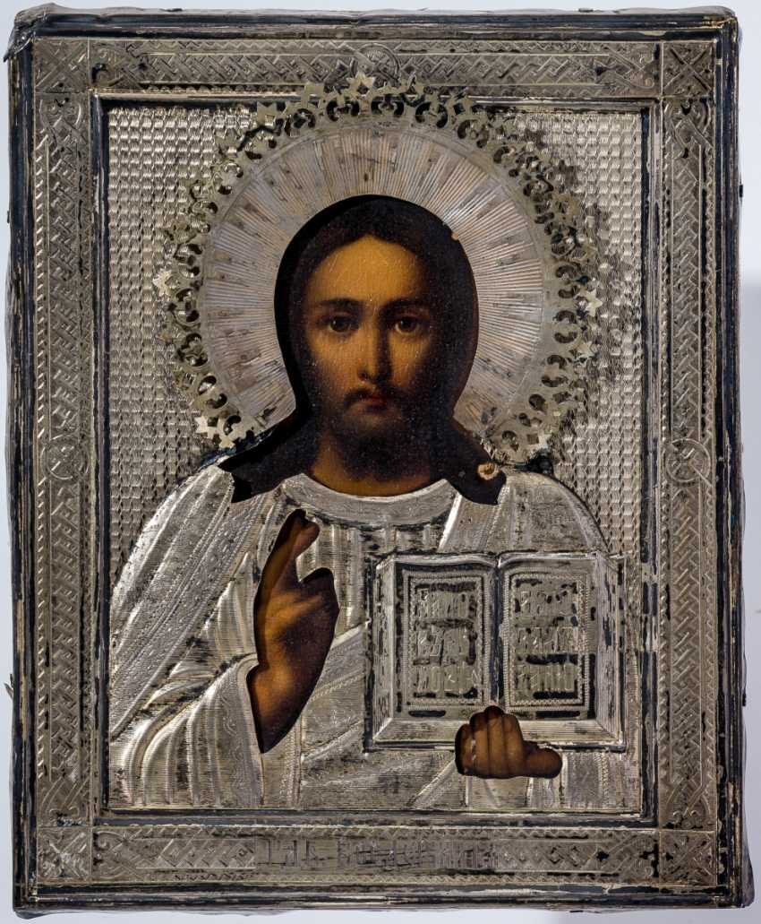 With Silberoklad is provided with the icon of Christ Pantocrator - photo 1