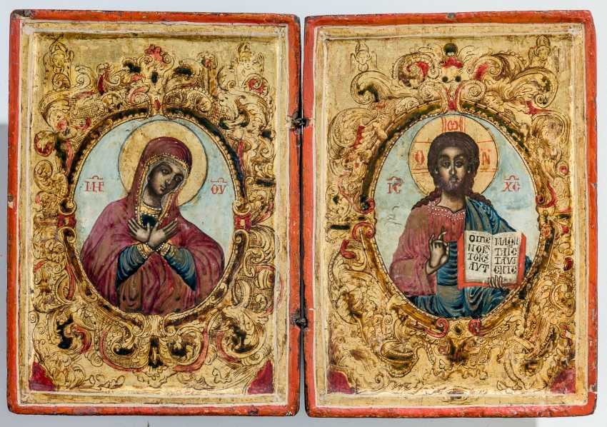 Charming wedding diptych with the mother of God and Christ Pantocrator - photo 1
