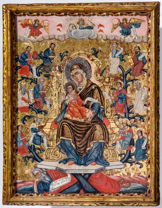 Rare and large icon of the root of Jesse with the mother of God and prophets - photo 1