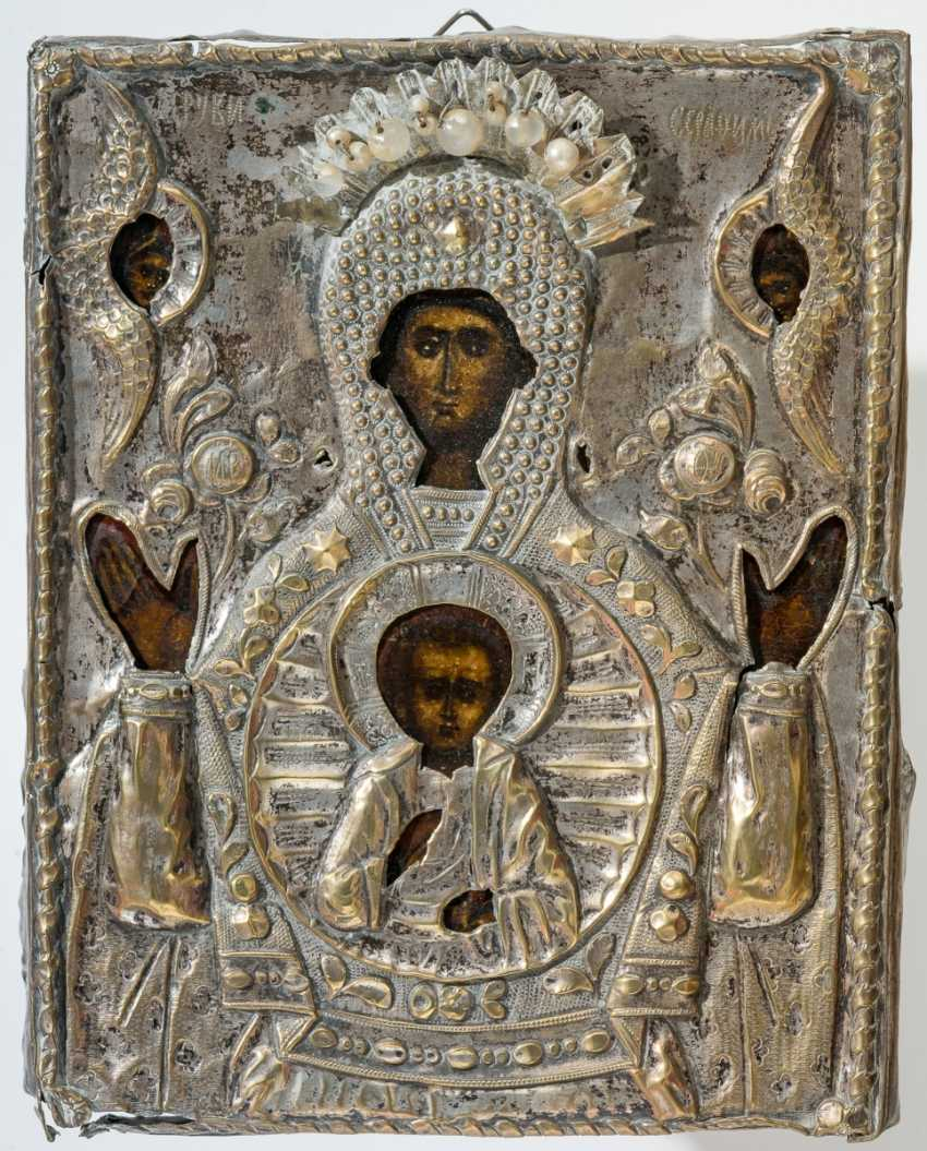 Small icon of mother of God of the sign (Známenie) with crafted very well-crafted Oklad - photo 1