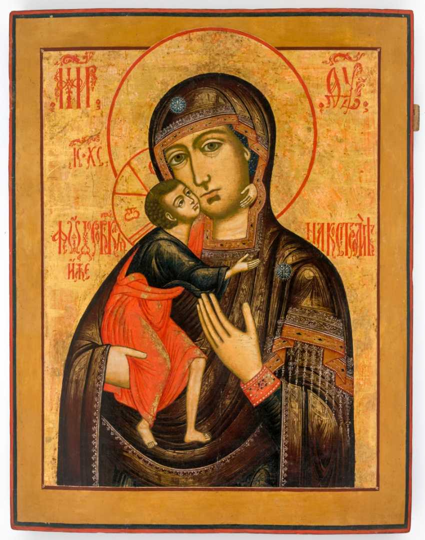 Very large icon of the mother of God Feodorovskaja with hand-driven Messingoklad - photo 2