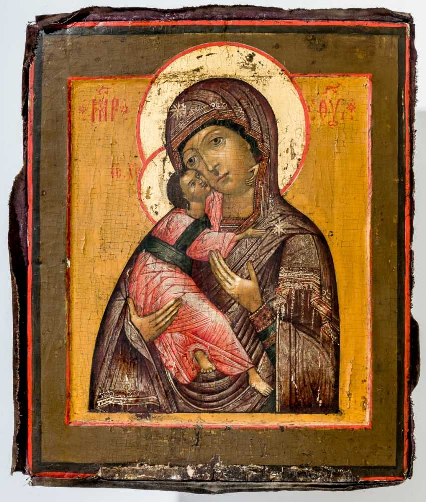 Icon of the mother of God of Vladimir with Silberoklad and rear-side dedication - photo 1