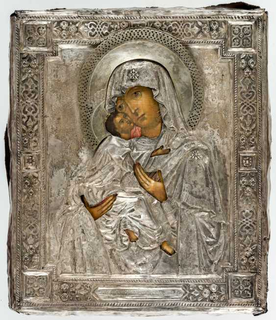 Icon of the mother of God of Vladimir with Silberoklad and rear-side dedication - photo 2