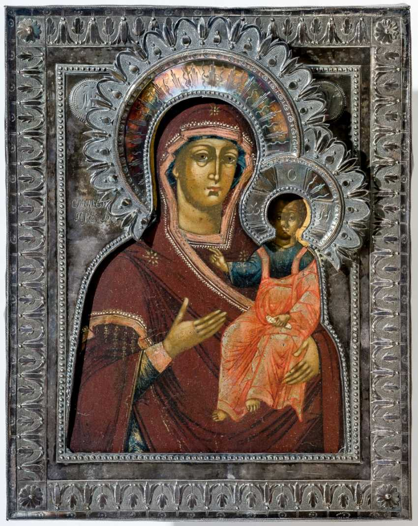 Icon of the mother of God of Smolensk with Silberoklad - photo 1