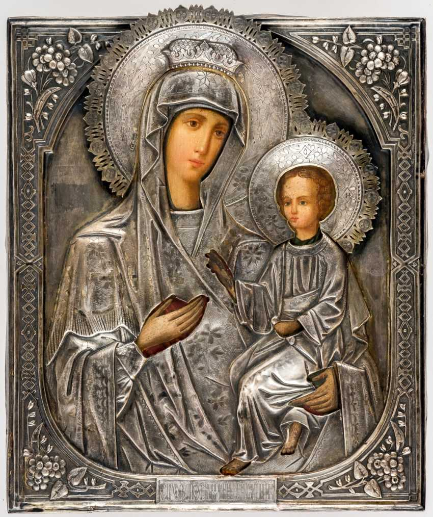 Rare Athos icon of the mother of God Skoroposluschniza (=The fast listening) with Silberoklad - photo 1