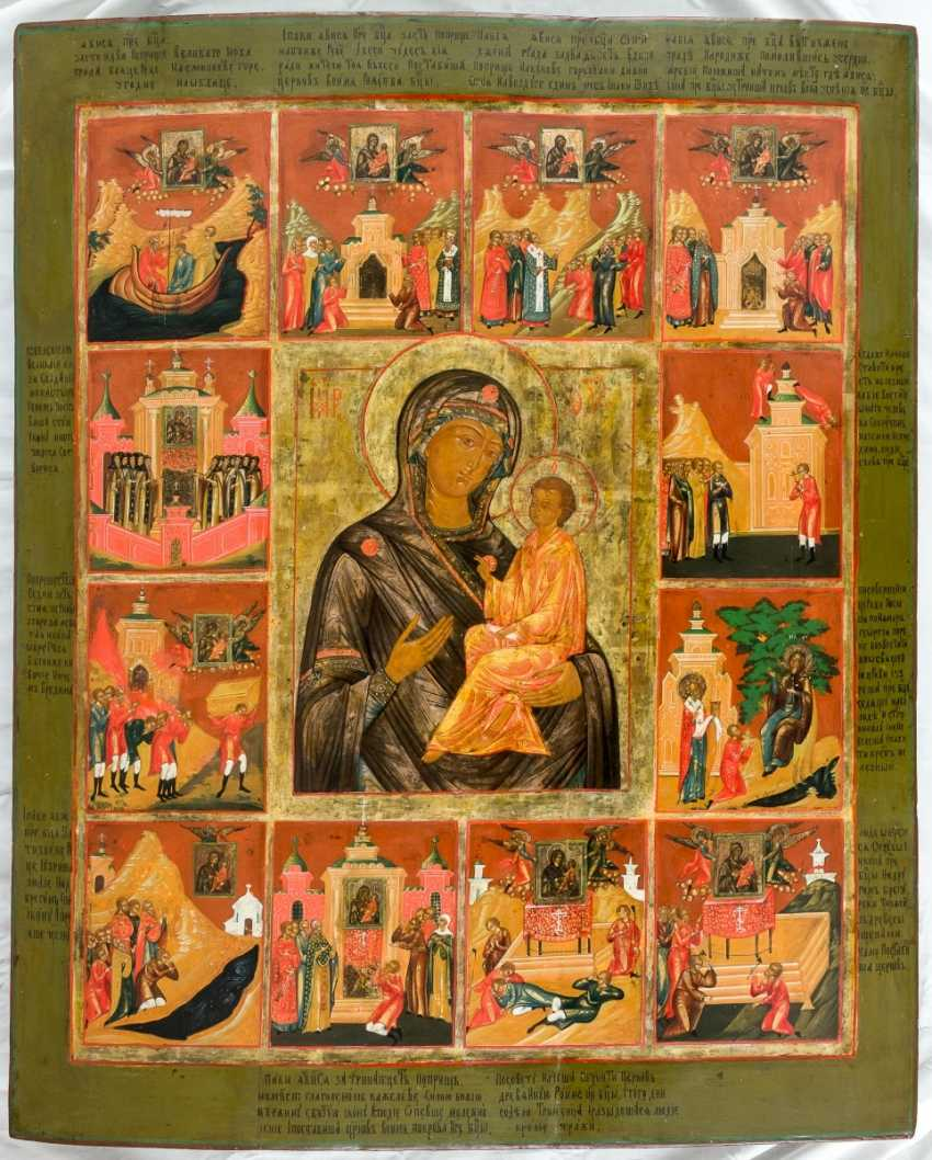 Monumental and rare icon of the mother of God of Tichvin with scenes from the story of the miraculous image - photo 1