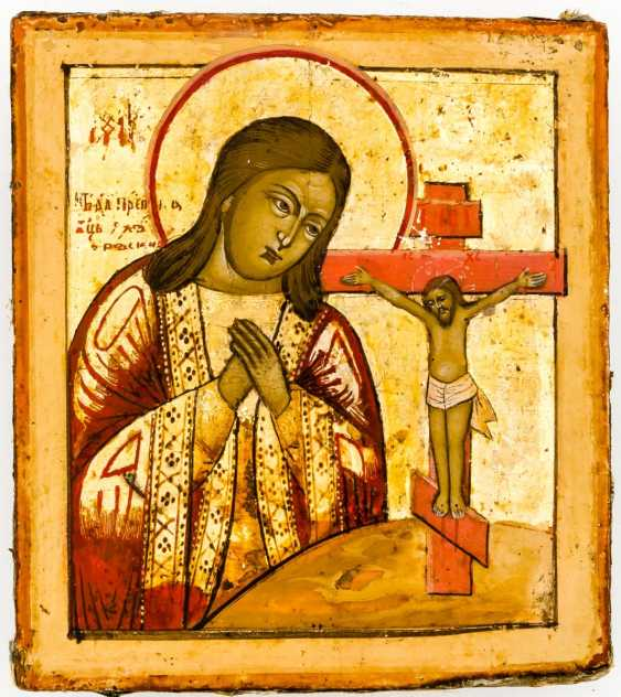 Small icon of mother of God Achtyrskaja with a gold-plated Silberoklad - photo 2