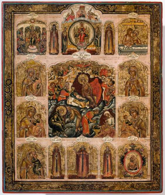 Rare and severe icon of the birth of Jesus, and with various representations of the mother of God - photo 1