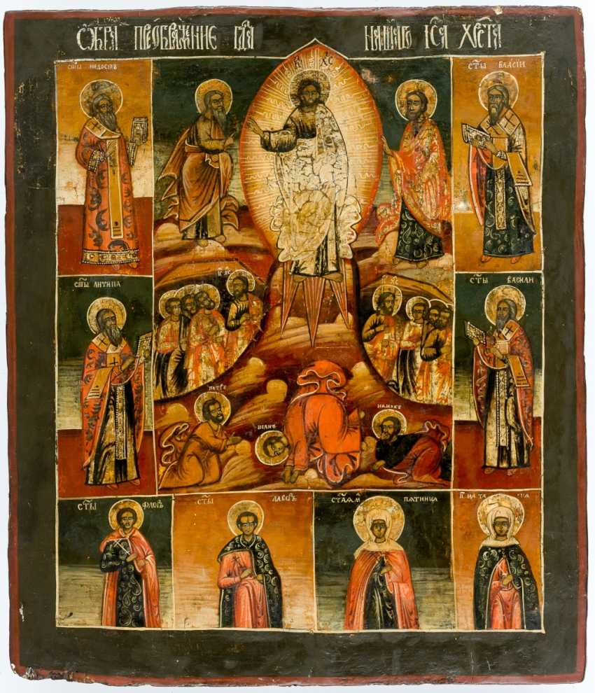 Very large icon of the Transfiguration of Christ, with an interesting back - photo 1