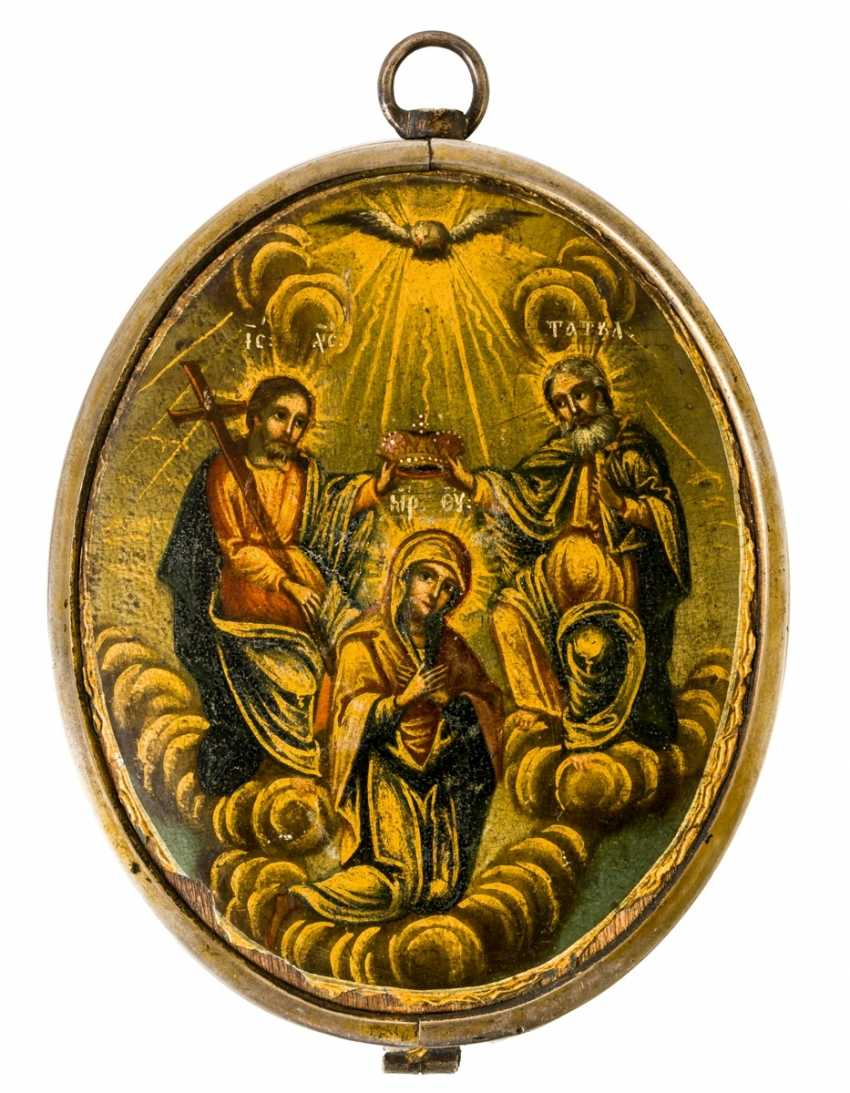 A double side painted medallion icon with the coronation of Mary and archangels Michael & Gabriel - photo 1