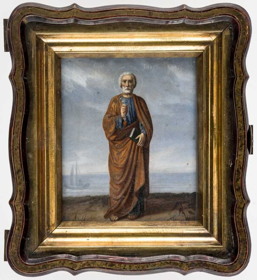 Maritime icon of St. Peter, with back dedication in the very beautiful inlaid the icon case - photo 1