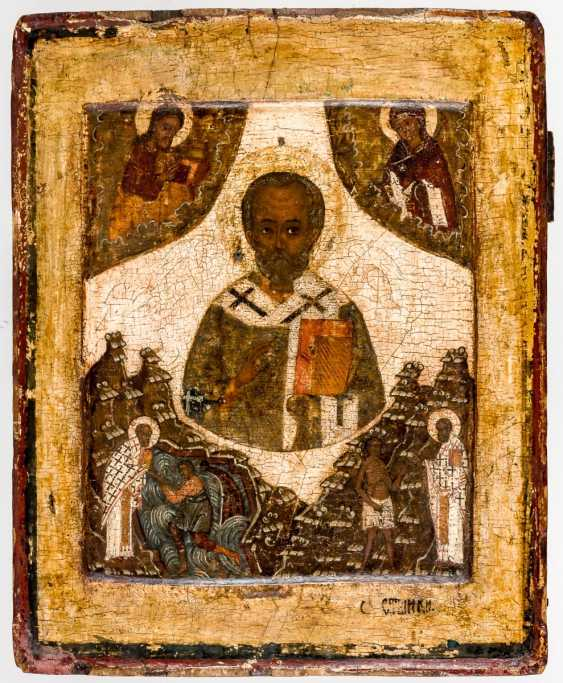 Rare icon of St. Nicholas with two Vita-scenes - photo 1