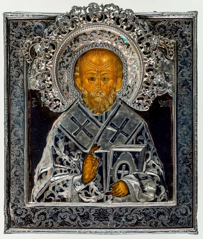 Icon of St. Nicholas with Silberoklad from Kazan (?) - photo 1