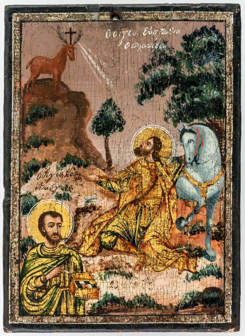 Rare icon of the Saint of hunters patron Saint Eustace - photo 1