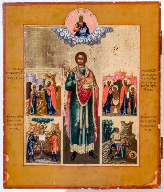 A finely painted icon of the Holy doctor, the patron Saint Panteleimon with scenes from his life - photo 1