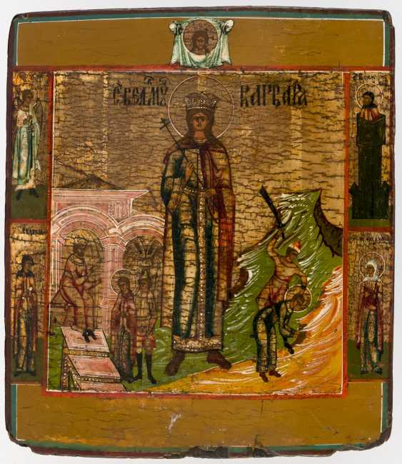Icon of St. Barbara with two scenes of your Vita - photo 1