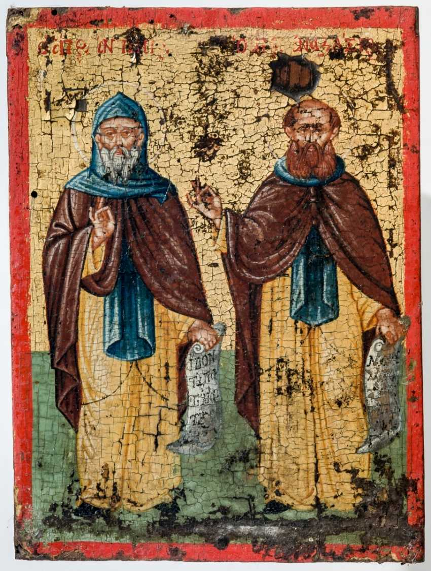 Finely painted, a small icon of the Holy monk, father Antony the Great and a Holy monk - photo 1