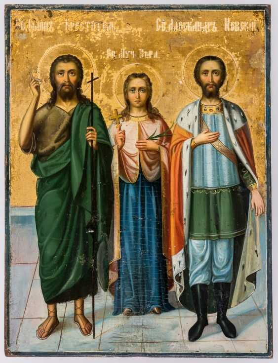 Icon of St. John the Baptist, of the Hl. Martyr Vera and of St. Alexander Nevski - photo 1