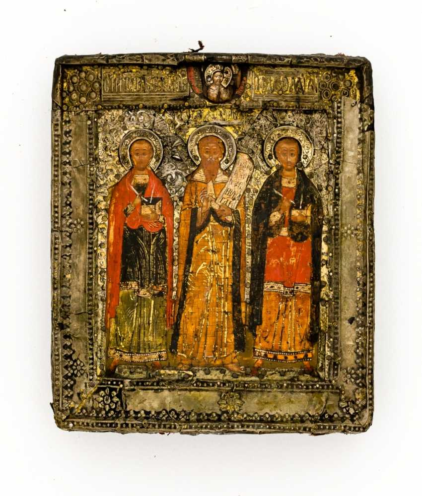 Early and rare icon of the Holy prophet Elias with the two Holy doctor cartridges Cosmas and Damian - photo 1