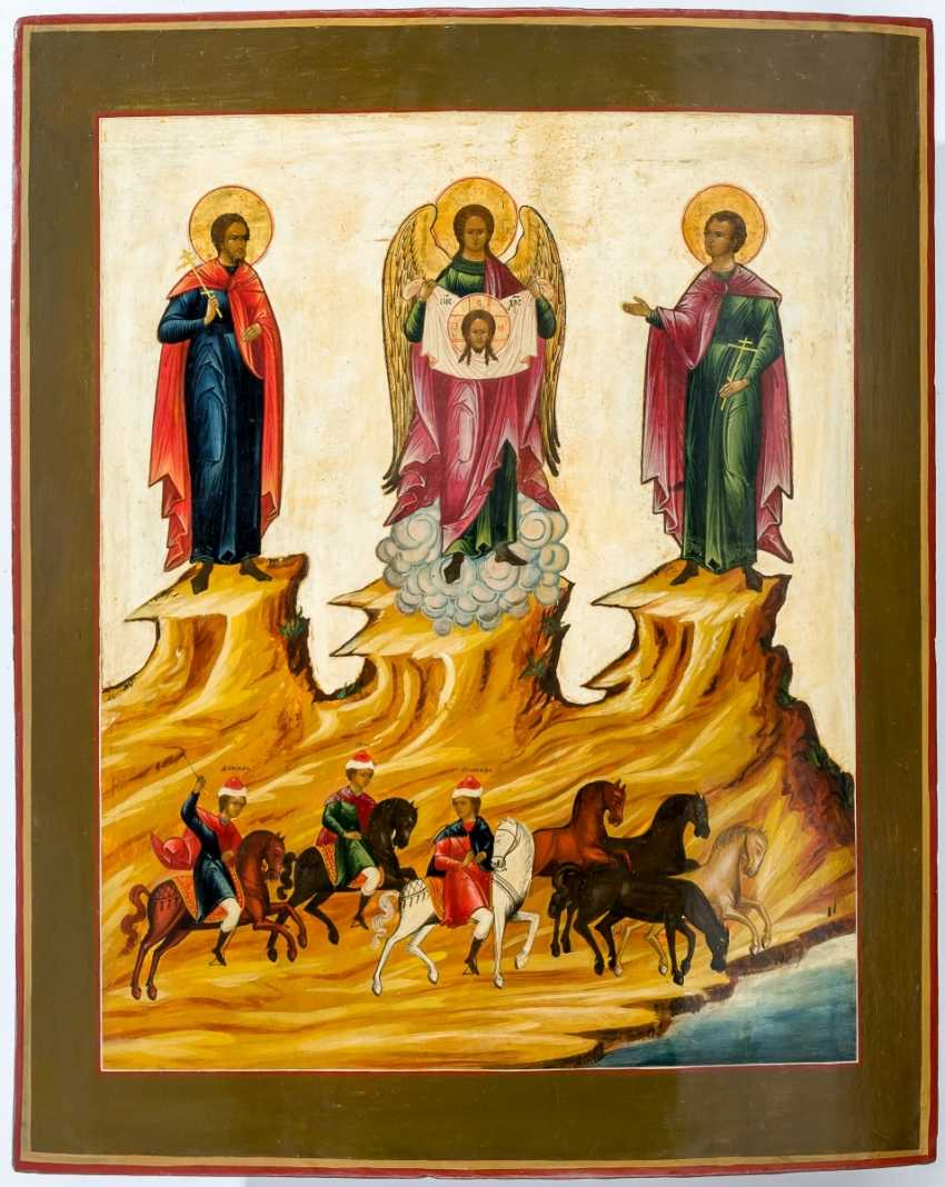Very large icon of St. Michael the Archangel with the Holy horse cartridges Florus and Laurus - photo 1