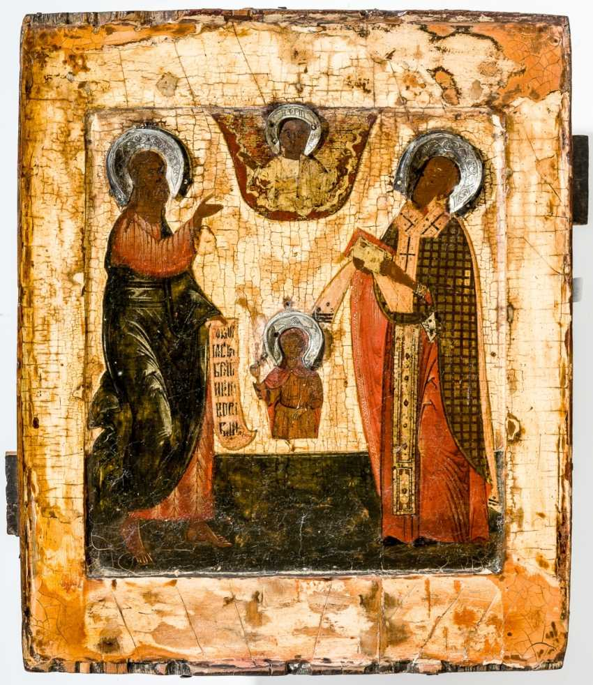 Early icon of the Holy prophet (Symeon?), a Holy Church father and a Saint Knabens - photo 1
