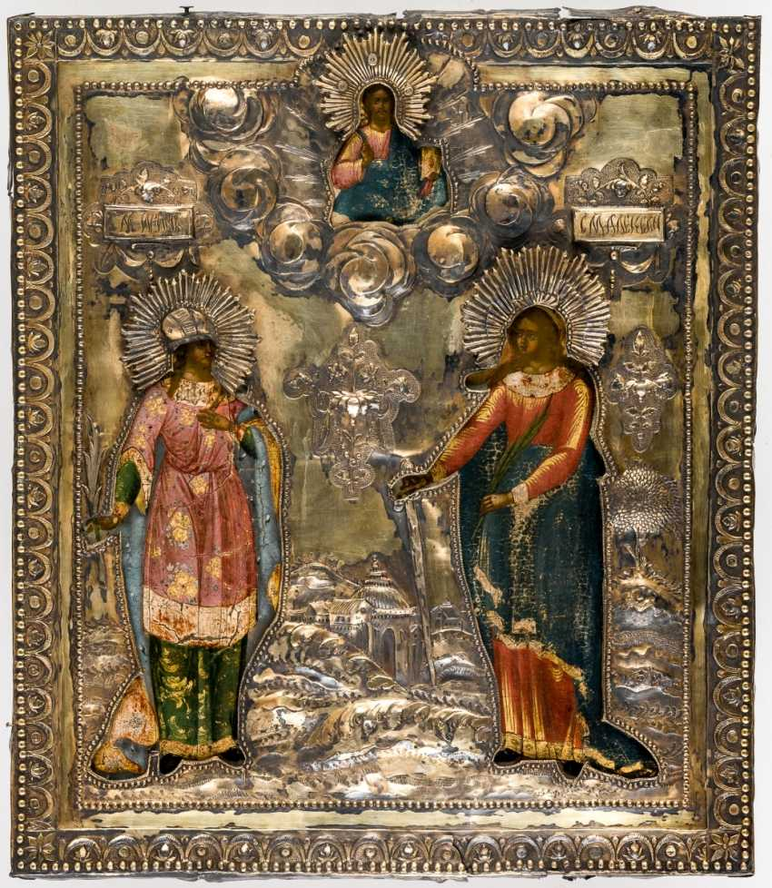 Large icon of the Holy martyrs Irina and Alexandra with a gold-plated Silberoklad - photo 1