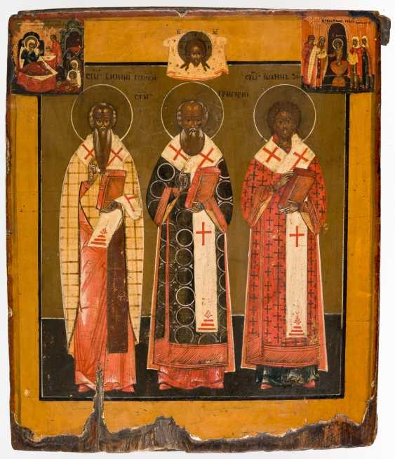 Iconographically unusual icon of the three Hl. Hierarchs - photo 1